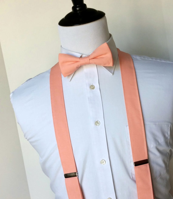 Wedding - Peach Bowtie and Suspenders Set - Men, Teen, Youth