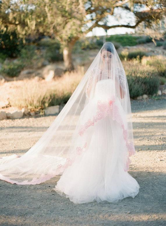 Blush Veil, Blush Wedding Veil, Cathedral Veil, Bridal Veil