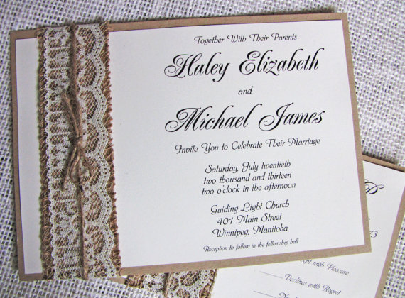 Rustic Lace Wedding Invitation, Burlap Wedding Invitation, Lace Wedding  Invitation Suite. Shabby Chic. Handmade. Country.