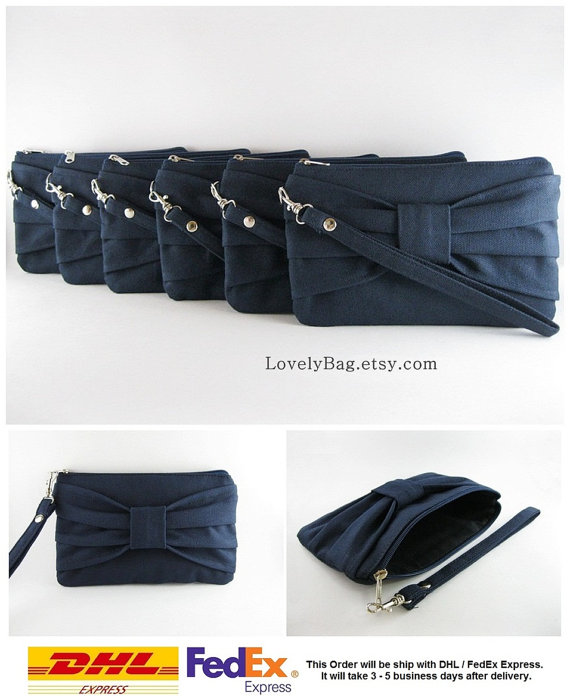 Hochzeit - SUPER SALE - Set of 6 Navy Bow Clutches - Bridal Clutches, Bridesmaid Clutch, Bridesmaid Wristlet, Wedding Gift,Zipper Pouch - Made To Order