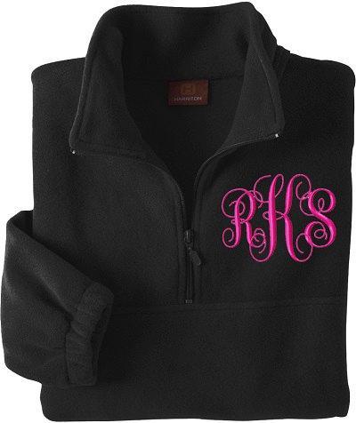 Monogrammed Half-Zip Pullover Jacket. Monogrammed Pullover Fleece ...