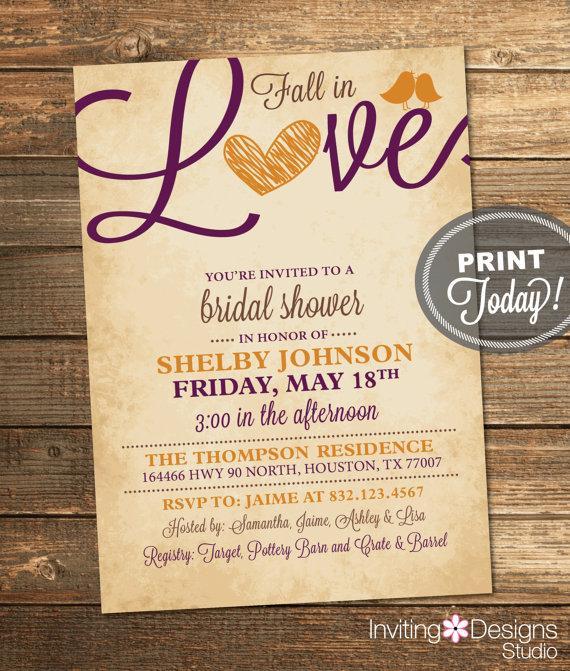 زفاف - Fall Bridal Shower Invitation, Love, Birds, Heart, Autumn, Orange, Purple, Brown, Rustic,  Printable File (Custom Order, INSTANT DOWNLOAD)