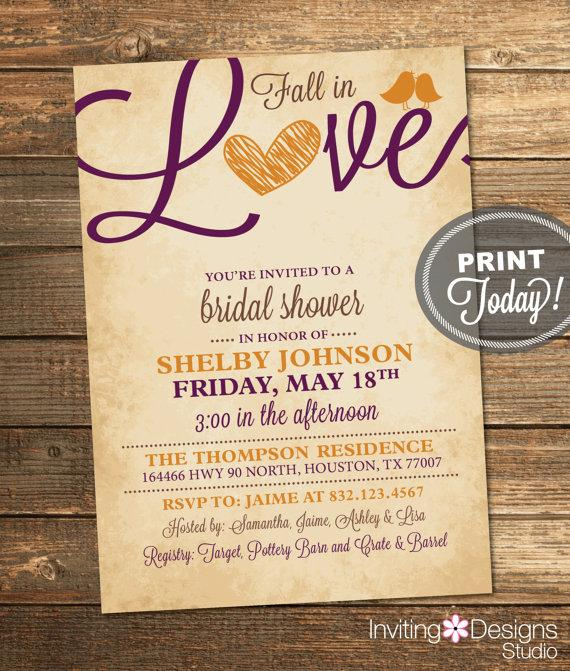 Fall Bridal Shower Invitation Love Birds Heart Autumn Orange – Purple Fall Wedding Invitations