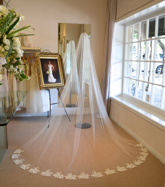 Wedding - Alencon Lace Cathedral Veil, Cathedral Mantilla Veil, Cathedral Length Wedding Veils, Wedding Veils Mantilla, Wedding Veils, Mantilla Veil