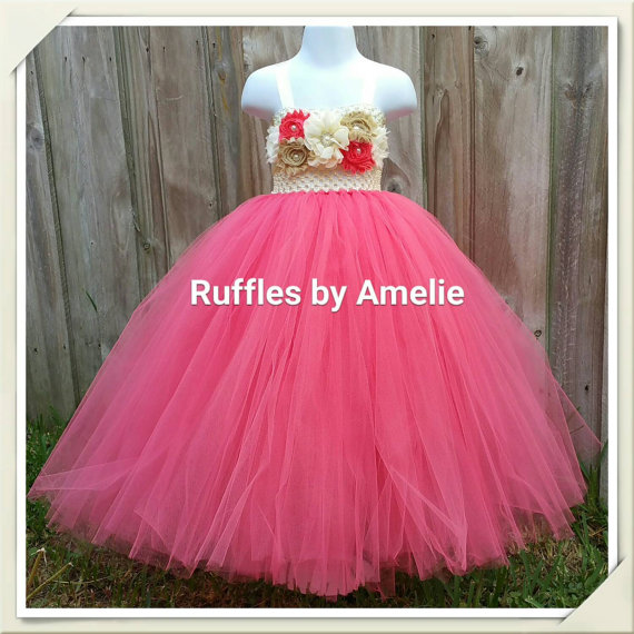 Mariage - Baby Girls Flower Girl Tutu Dress in Coral & Ivory. Coral Flower Girl Dress.
