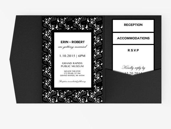 زفاف - DIY Word Template garden Wedding Invitation Stationary Set