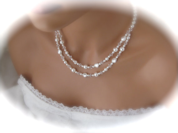 Mariage - Wedding Jewelry Bridal Necklace Double Strand Pearl Necklace.