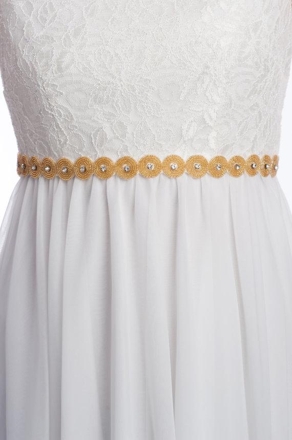Mariage - gold wedding sash , gold  or silver bridal belt, beaded sash - RONDA