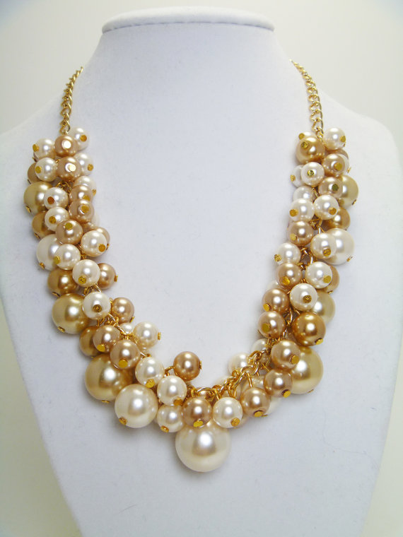 Mariage - Ivory and Champagne Pearl Necklace, Chunky Necklace, Ivory and Gold Jewelry, Bridal Jewelry, Wedding Necklace, Ivory Bridesmaid Necklace