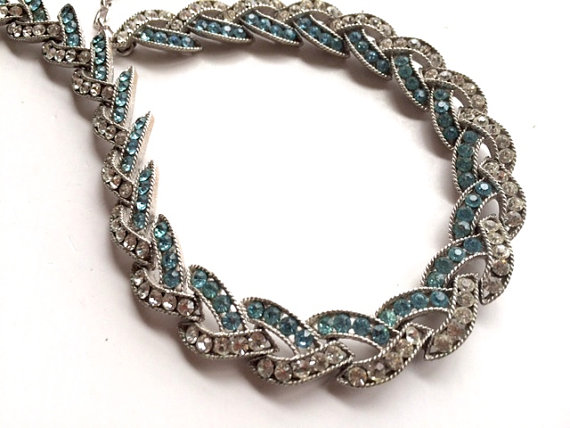 Mariage - Trifari Cavalcade Rhinestone Necklace Blue Bridal Retro Fashion Jewelry