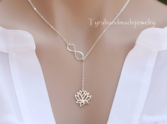 Mariage - Sterling Silver infinity Lotus lariat necklace,Mother necklace,Bridesmaid gifts,figure eight lotus flower,Wedding bridal jewelry