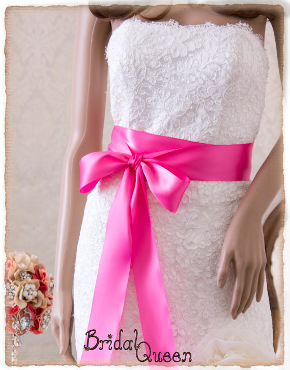 زفاف - Bridal Sash, HOT PINK Satin Ribbon Sash, Wedding Sash, Satin Bridal Sash, Bridal Belt, Hot Pink Sash
