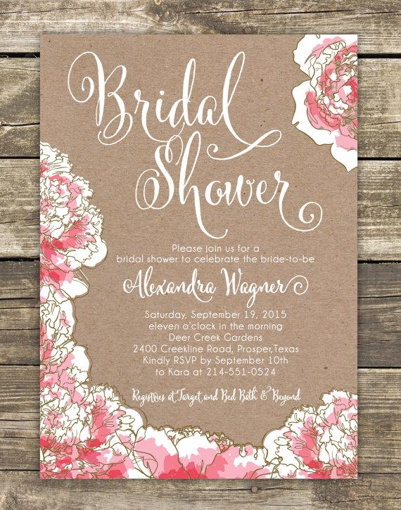 printed bridal shower invitation romantic pink peony floral bridal luncheon bridal tea invitation