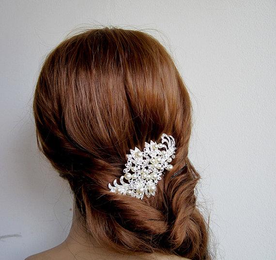 Mariage - Bridal hair comb, Pearl Rhinestone Hair Comb, Bridal headpiece, Bridal hair accessories, wedding headpiece,bridal hair adornment