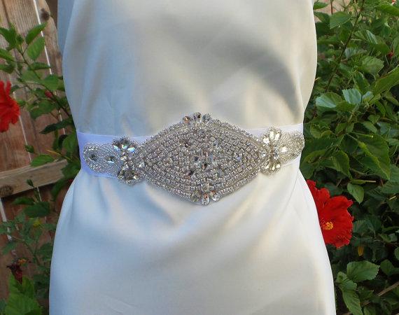 Hochzeit - Rhinestone Bridal Belt, Bridal Belt, Crystal Brida Belt