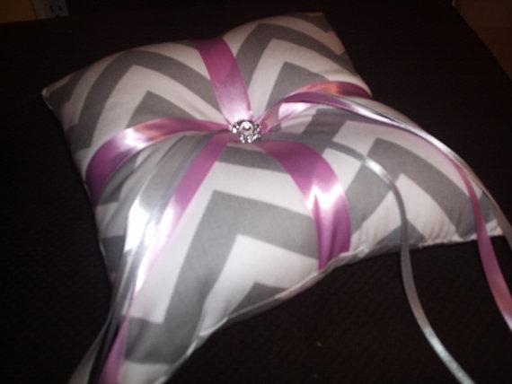 Wedding - Gray and White Chevron Ring Bearer Pillow