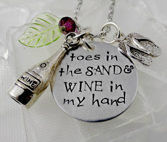 Mariage - Wine In My Hand Stamped Beach Necklace or Bangle Bracelet - Toes In the Sand Girl - Cruise Jewelry - Ocean