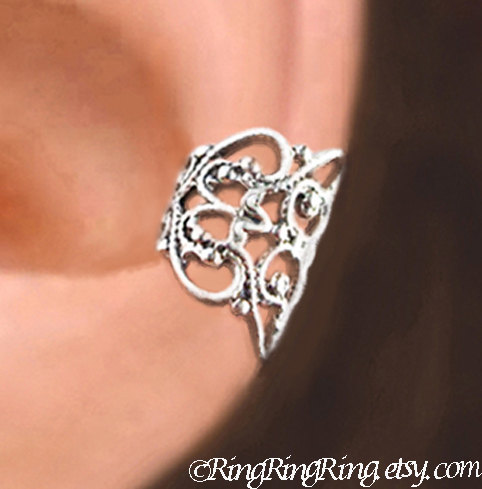 C 080 Lace Filigree Ear Cuffs Sterling Silver Earrings Earcuff Clip Jewelry Left Right Or Pair