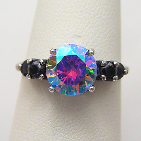Wedding - Unique Engagement Ring Cosmic Muse Mystic Fire Ice 2ct Antiqued Silver Ring