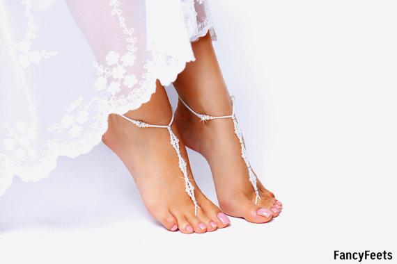 Hochzeit - Barefoot Sandals, Beaded barefoot sandals, Beach wedding Barefoot Sandal, Pearl Barefoot shoes, Bridal Barefoot Sandals, footless sandal