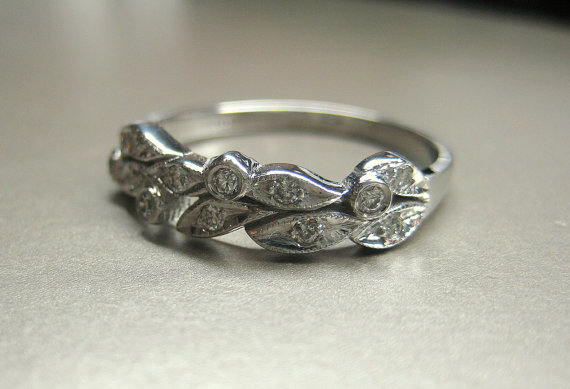 Leaf Engagement Ring Wedding Ring 14k White Gold Leaves With