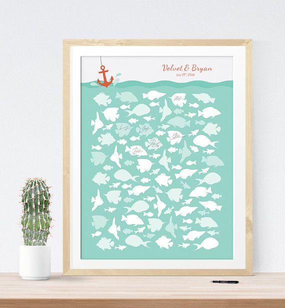 Hochzeit - Wedding Guest Book Alternative Print Nautical Beach Wedding Fish Custom Guest Sign In Board Guest Book Idea