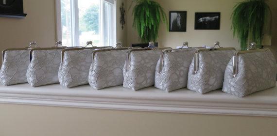 Wedding - SALE 20% OFF, Bridal Silk And Lace Clutch Set Of 8 Grey Clutches,Wedding Clutch,Bridesmaid Clutches,Bridal Accessories