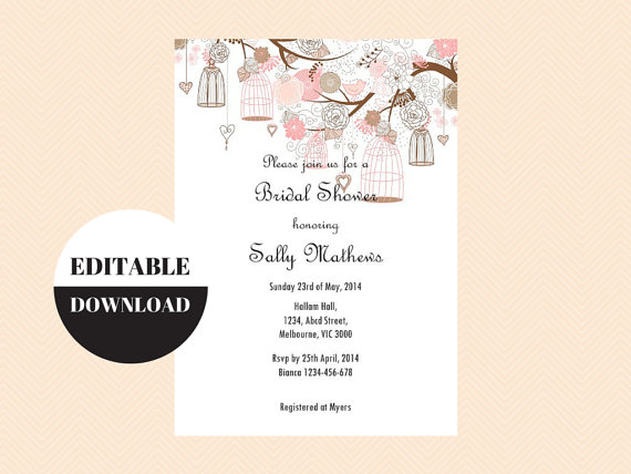 Editable baby shower invitations editable bridal shower invitations editable baby shower invitations editable bridal shower invitations editable birthday party invitation love birds birdcage tlc18 bs42 filmwisefo