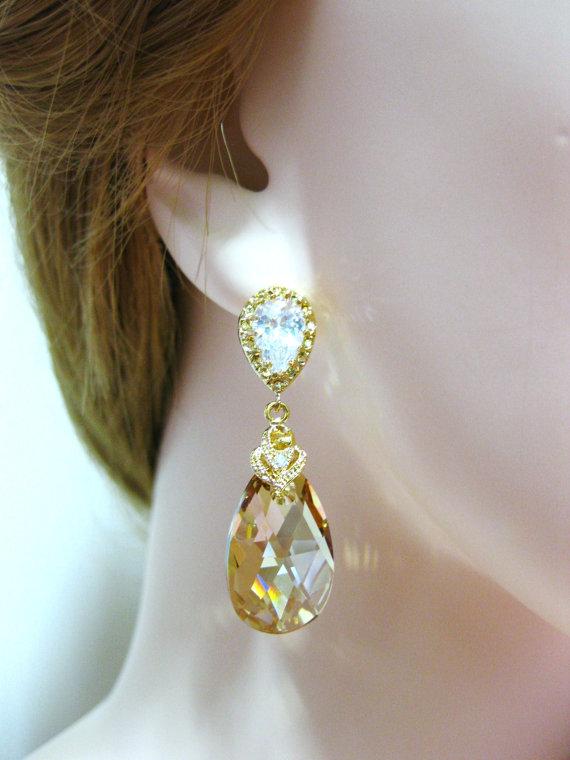 Свадьба - Swarovski Golden Shadow  Crystal Earrings Champagne Gold Teardrop Earrings Bridesmaids Gift Wedding Jewelry Gift Bridal Earrings (E024)