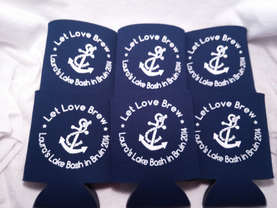 Mariage - Nautical Bachelorette Koozies Design 148030832 lot of 12 to 25 personalized custom can coolers quick shipping -Stock Art Available