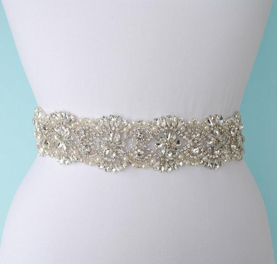 Wedding - Sel Bridal Belt Bridal Dress Belt Sash Belt Pearls Belt Rhinestone Belt Crystal Belt Rhinestones and Pearls Sash Bridal Sash Wedding Sash