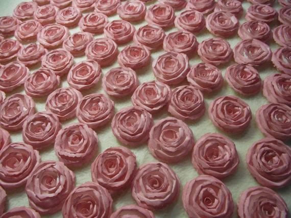 زفاف - Wedding Paper Flowers...200 Piece Set of Custom Made Very Beautiful Shabby Chic Scrapbook Paper Flower Rolled Roses