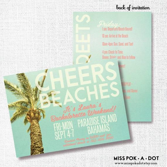 Cheers Beaches Bachelorette Weekend Invitation Bachelorette Party
