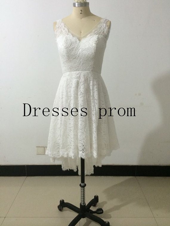 9545e28e8bb Asymmetrical High Low V-neck Lace Bridesmaid Dress Ivory Short front Long back  Lace Prom Dress High Low Wedding Dress