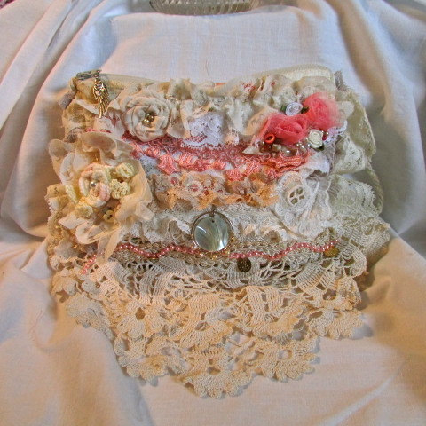 Mariage - Shabby Romantic Purse, handmade victorian pouch, layered ruffled frilly laces, handheld bridal clutch wedding bag, chic shabby cottage chic