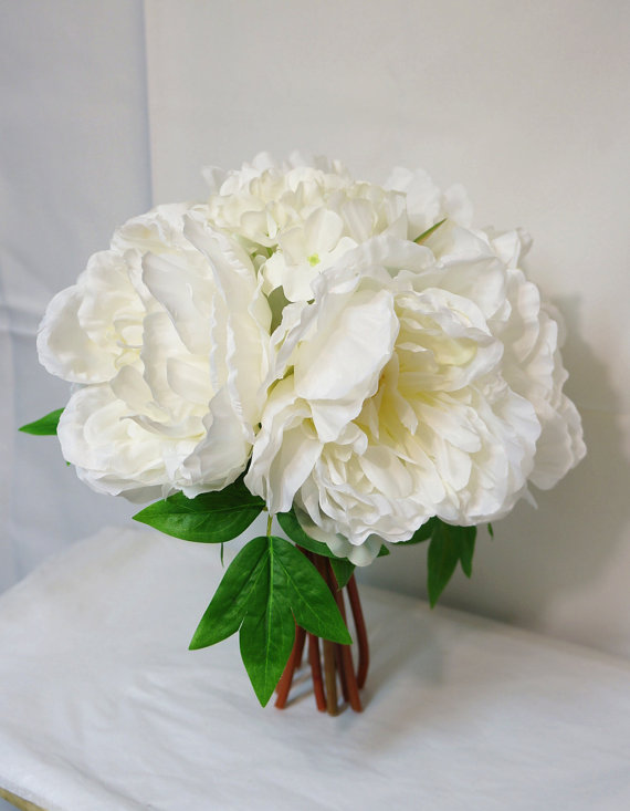 Mariage - JennysFlowerShop 12'' Extra Large Peony and Hydrangea Silk Artificial Flower Bouquet for Wedding/Home (12 stems)