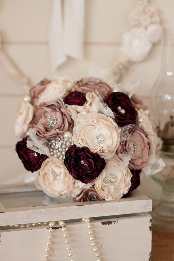 Cream Dusty Pink And Burgundy Satin Lace Bridal Bouquet Vintage Inspired Fabric Brooch Wedding