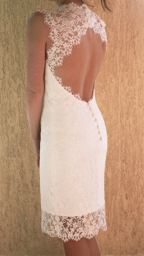Mariage - Wedding Lace Dress With Scalloped Keyhole, Custom Made Tea Length Wedding Dress, Short Wedding Dress, Reception Dress