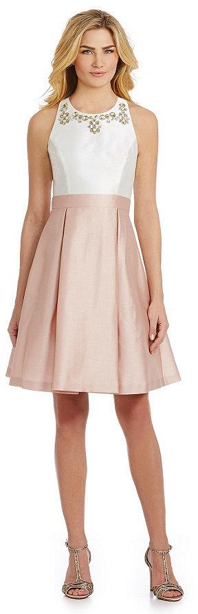 Hochzeit - Eliza J Beaded Fit-and-Flare Dress