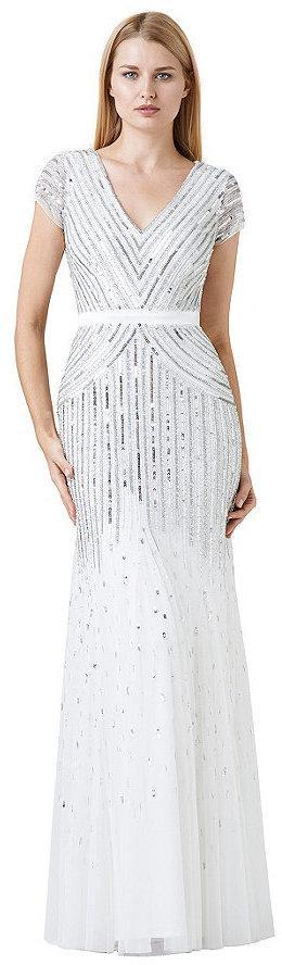 Hochzeit - Adrianna Papell Cap-Sleeve Beaded Gown