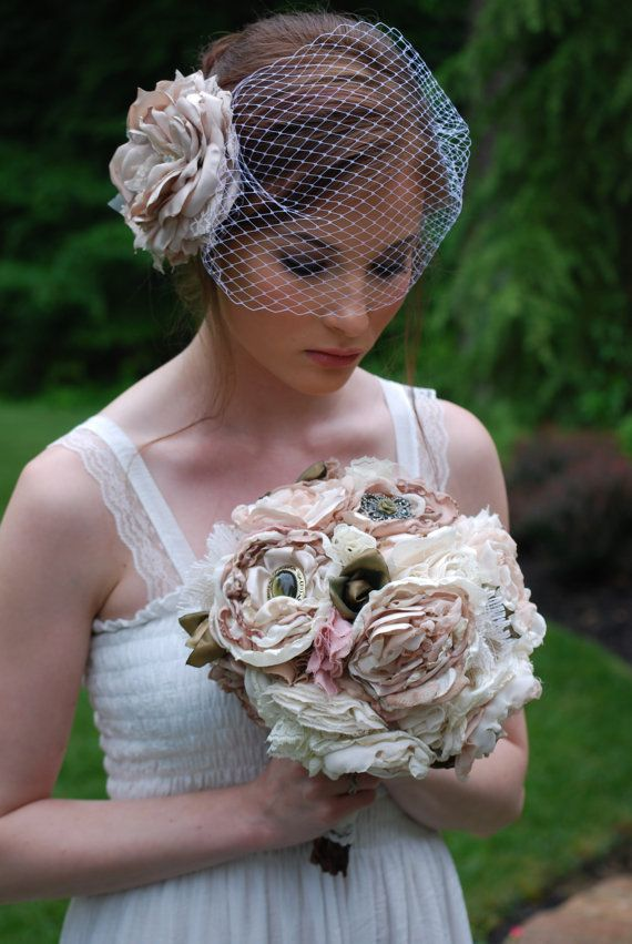 Свадьба - Nude, Champagne, And Blush Fabric Bridal Bouquet With Layered Flowers And Brooches
