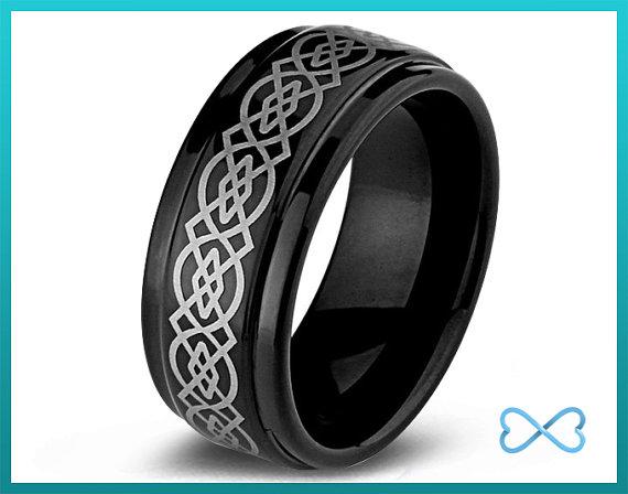 Mariage - Tungsten Wedding Band,Mens Ring,Mens Wedding Bands,Black Wedding Band,Rings,Beveled Edge,9mm,Celtic,Irish,Mans,Anniversary,His Hers,Set,Size
