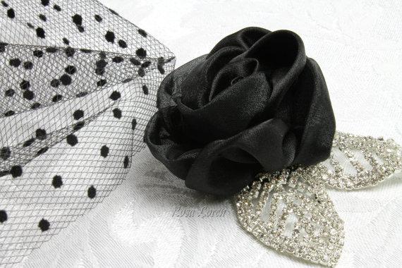 Hochzeit - Black Rose Hair Clip, Black Rose Hair Accessory