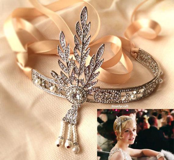 Great Gatsby Headband Forehead Band 1920s Fler Wedding Bridal Hair Accessories Vintage Headpiece