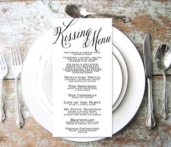 Свадьба - Kissing Menu, Wedding Kissing Menu, Elegant, Script, INSTANT DOWNLOAD, Wedding Game, Shower Game, Reception Game, Engagement, Fun game