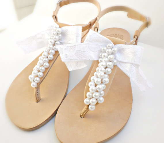 Bridal sandals- Greek leather sandals-Wedding sandals decorated with white  pearls and satin lace bow -White women flats- Bridesmaid sandals b4340f5884