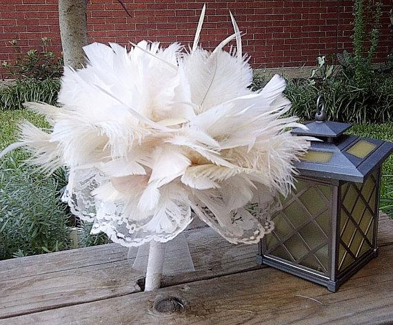Hochzeit - IVORY Ostrich Feather and Lace Bridal Bouquet - Antique Vintage Style Bride Pearls & Chandelle Feathers Bride Bouquets Custom Wedding Colors