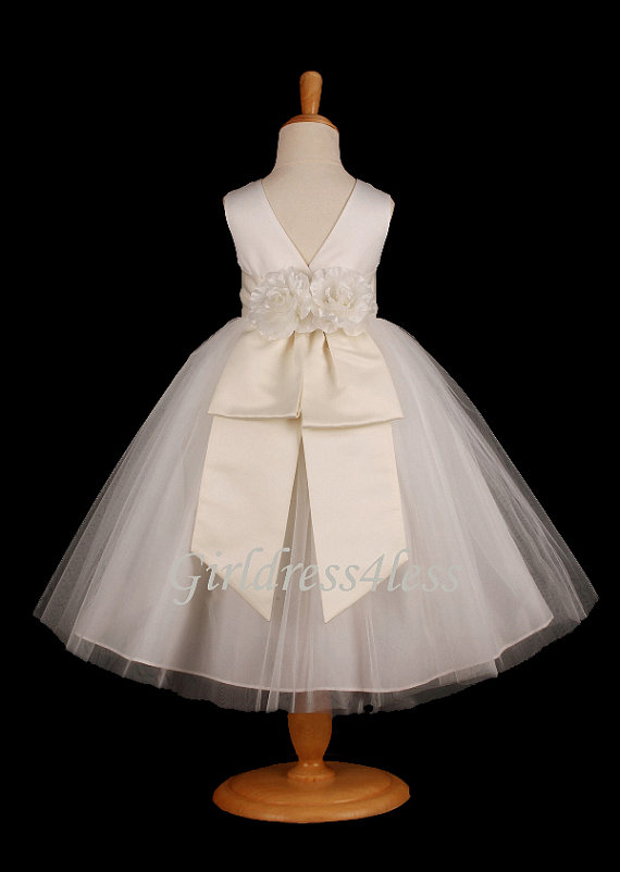 Свадьба - Ivory With Removable Sash With Many Colors To Choose  Party  Flower Girls Dress 12m 18m 2/2t 4/4t 5/6 7/8 9/10 11/12 F07IV