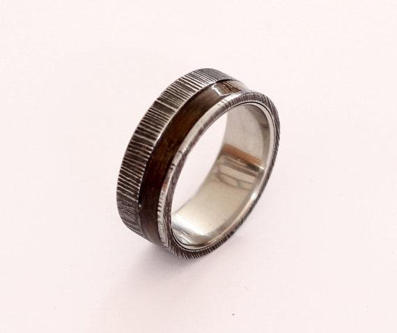 Свадьба - Damascus steel ring with ziricote wood inlay