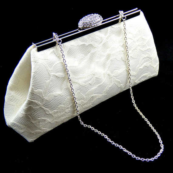 Mariage - Ivory Satin and Lace Bridal Clutch, Bridesmaid Clutch, Bridesmaid Gift, Wedding Clutch, Custom Bridal Clutch, Bridal Shower Gift